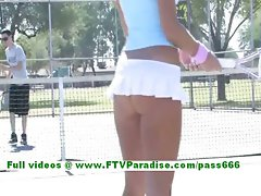 Dara superb tempting blonde slutty girl playing tennis and flashing knockers