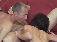 Graceful dark haired and toned dude suck mustachioed dude's pecker together, then bangs