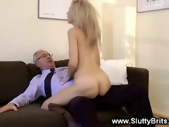 Blond lass throat and slit banged by older lad