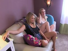Heather & Tara make daddy cum!