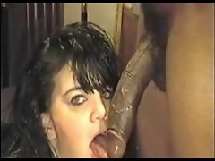WHITE Girlie THROATS A BIG OLE Ebony Penis