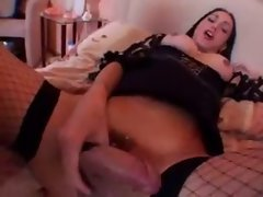 Solo transvestite with enormous tits jerks off her shaft