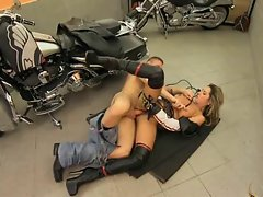 Daria Glower bangs with biker
