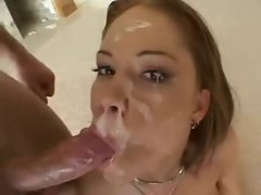 Amee Donovan swallow lots of cum in gangbang sequence