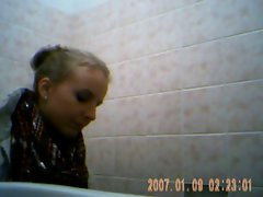 Filthy 19 years old lass at party on toilet 2