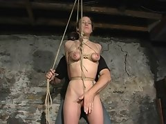 tied knockers riding a sexy fanny rope