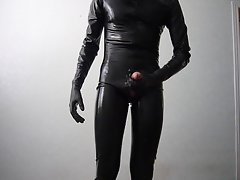 Masturbation in latex catsuit