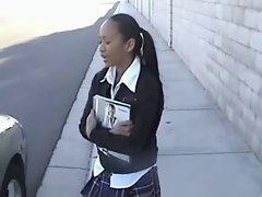 High School Young woman get Oral Exam on the way to School