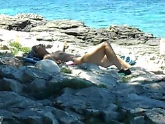 elder lady nude on nudist beach