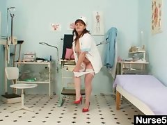 Large melons aged lady wears nurse uniform and gets randy