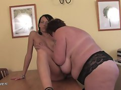 Heavy slutty mom playing with a lewd 18yo young woman