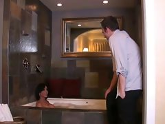 latin ts maid accepts shower with her man