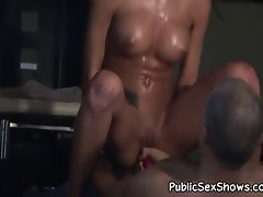 Buxom stripper gets her quim caressed