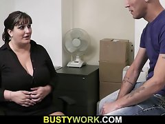 Obese in pantyhoses rides his massive rod