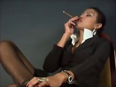 Blouse Collar Up Smoking Chick