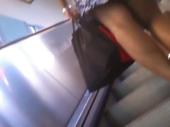 Upskirt Escalator 21 - Ebony Mum Wearing Long Black Panty