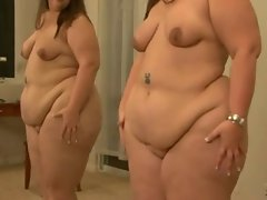 obese in front of mirror