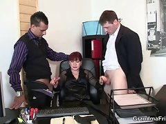 Two happy studs bang business female