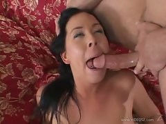 Vivacious Julie Knight loves slurping down filthy cum