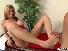 Bawdy Alexis Fawx tosses off this pecker with her toes