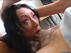 Adorable Tia Ling chokes on a huge throbbing meat pole