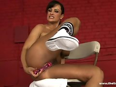 Sexual Lisa Ann stuffing her narrow pussy with her lewd toy