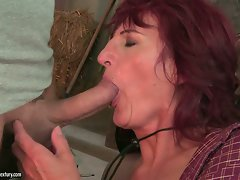 The attractive stud didn't mind that he was mouth banging grandma Ria