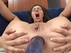 Porn pro Monica accepts enormous dick in the butt and and loves every bit of it