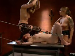 Krystal joins in some filthy playtime with two her two filthy lesbo friends