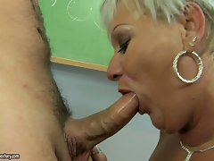 Great luscious granny Cecily getting her mouth busy on a lewd 18yo phallus
