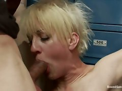 Superb blondie hussy gobbles down a huge fuck shaft
