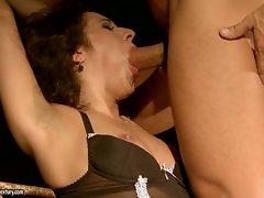 Young woman becomes dominated leaving her mouth in a cum covered shamble.