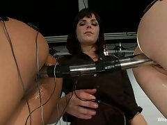 Filthy femdom Bobbi Starr wires up these two's quim