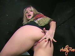 Ashely Fires spreads her pussy for a up-close visit with a cameraman.