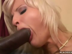 Attractive blond Kassey make love to her boyfriend's phallus with her luscious mouth