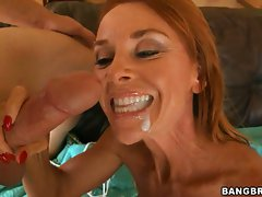 Nice looking Janet Mason getting a mouthful of sticky filthy man cream