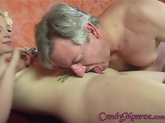 Wild Candy Monroe gets her cuckold to clean her up