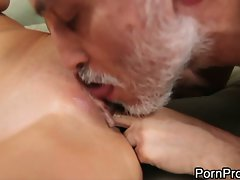 Tart Alanah Rae gets caressed out by a wrinkly grandpa