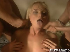Sylvia Saint likes to get hosed down with attractive cum after she bangs.