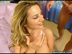 Blondie Good looking Friday likes to ger lewd goo all over her face.