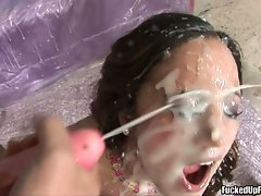 Great whorish Lynn Love receives a awesome blast of shaft sauce on her lewd face