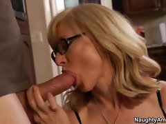 Charming Nina Hartley slobbers on this meat pole