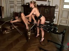 Sophie Moone machine bangs Danika while she lays tied down and helpless