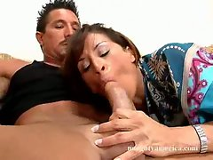 Great attractive Devon Michaels deliciously bangs her lover's penis with her mouth