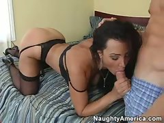 Saucy smoking attractive belle Lisa Ann gets her slit nailed by a gigantic toll