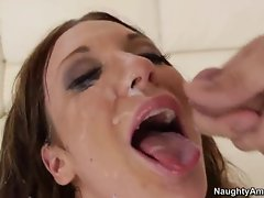 Lovely Amy Brooke gets her face covered with cum