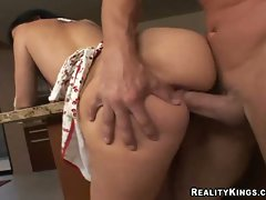 Watch Luscious Lopez's big bum wiggle while she gets screwed wild from behind