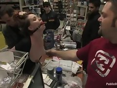 19yo redhead is gagged and a fake penis is forced into her in luscious shop.