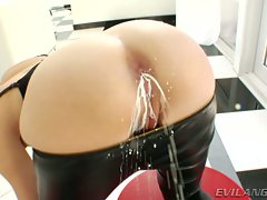 Sexual whore Dana DeArmond blasts out milk from her bum