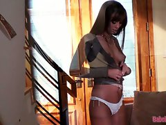 Attractive and attractive Alexis Capri struts around inside in her panties